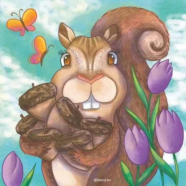 """audio cuento para Para aprender a compartir: """"Pequeña Rodante y su lección gigante"""". En la imagen ardilla agarrando muchas nueces."""